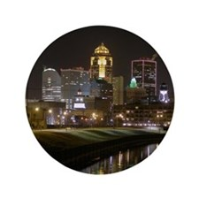 """Downtown Des Moines at Night 3.5"""" Button"""