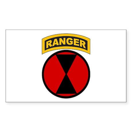 7th Infantry Div with Ranger Rectangle Sticker
