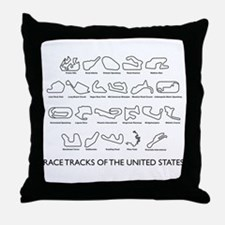 Race Tracks of the United States Throw Pillow