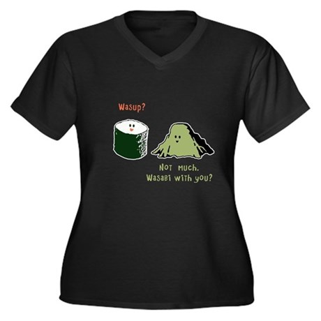 Wasabi With You? Women's Plus Size V-Neck Dark T-S