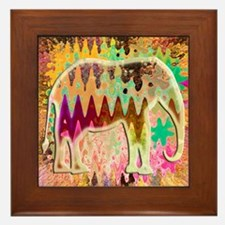 Golden_TieDyed_Elephant Framed Tile