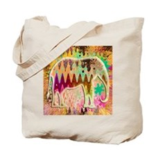 Golden_TieDyed_Elephant Tote Bag