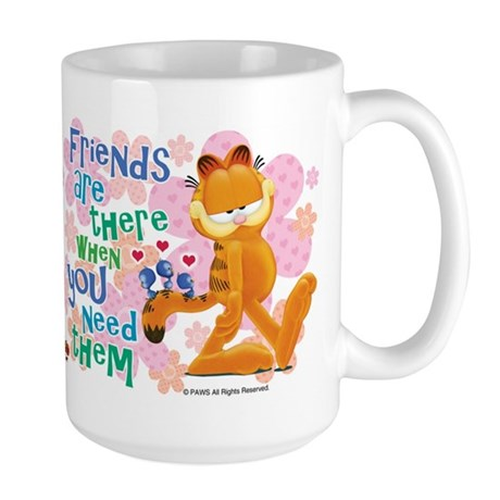 """Friends Are There"" Garfield Large Mug"