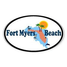 Fort Myers Beach FL Oval Decal