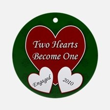 2 Hearts Engaged 2010 Ornament (Round)
