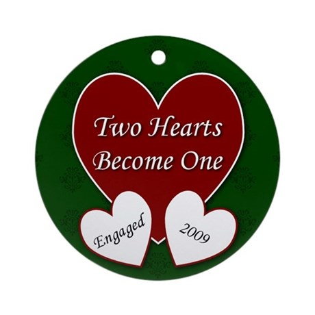 2 Hearts Engaged 2009 Ornament (Round)