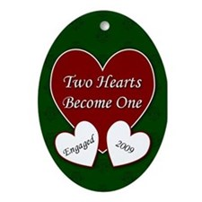 2 Hearts Engaged 2009 Oval Ornament