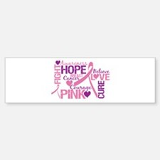 Breast Cancer Words Bumper Sticker (50 pk)