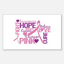 Breast Cancer Words Rectangle Decal