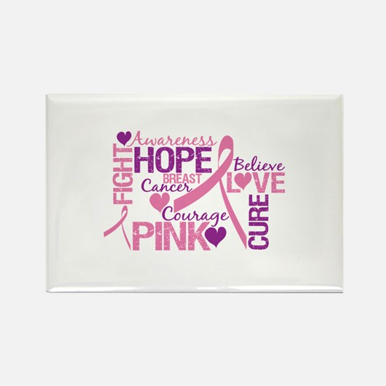 Breast Cancer Words Rectangle Magnet