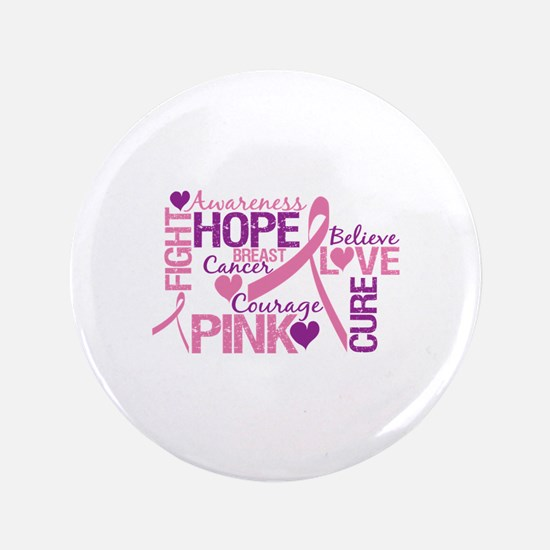 """Breast Cancer Words 3.5"""" Button"""