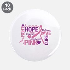 """Breast Cancer Words 3.5"""" Button (10 pack)"""