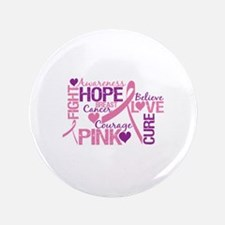 "Breast Cancer Words 3.5"" Button (100 pack)"