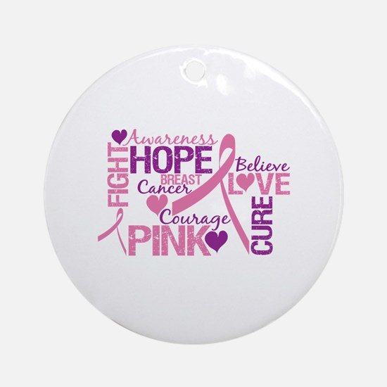 Breast Cancer Words Ornament (Round)