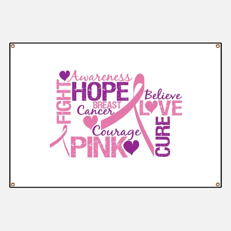 Breast Cancer Words Banner