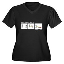 Double Tap Women's Plus Size V-Neck Dark T-Shirt