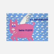 Swine Flu Pigs Fly Rectangle Magnet