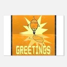 Greetings, Retro Robot Postcards (Package of 8)