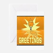 Greetings, Retro Robot Greeting Card