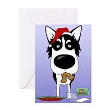 Siberian Husky Santa Greeting Card