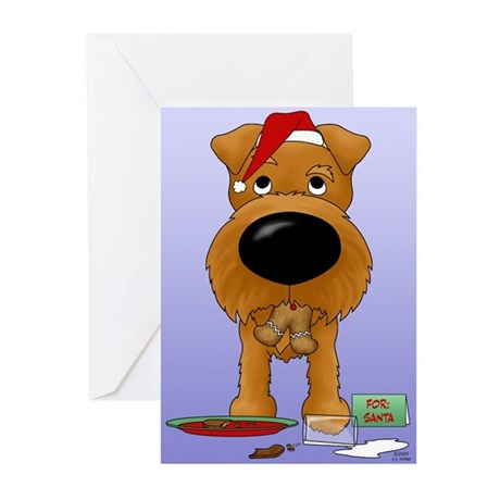 Irish Terrier Santa Greeting Cards (Pk of 20)
