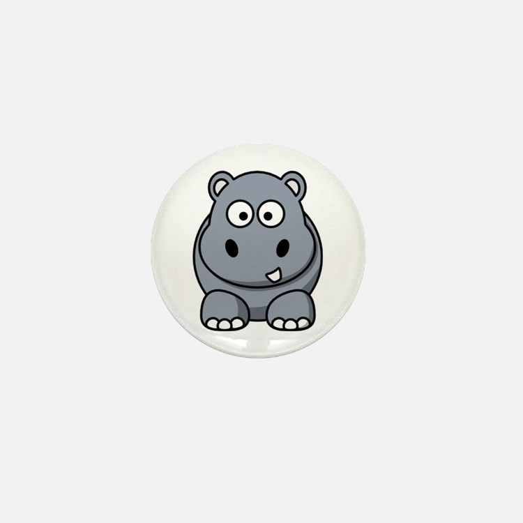 Cute Cartoon hippos Mini Button