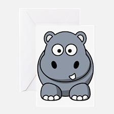 Cartoon Hippo Greeting Cards