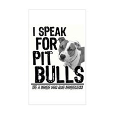 Speak for Pit Bulls Rectangle Decal