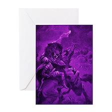 Odin & Fenris - Violet Greeting Card