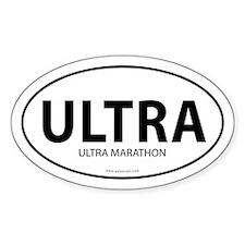 Ultra Marathon Bumper Sticker -White (Oval)