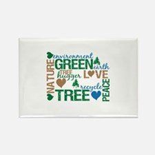 Live Green Montage Rectangle Magnet