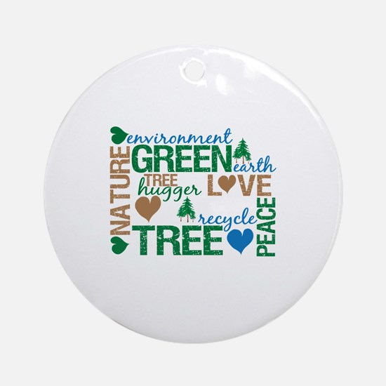 Live Green Montage Ornament (Round)