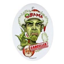 Obama Grinch Oval Ornament