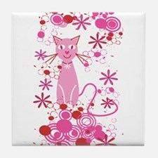 Fancy Pink Cat Tile Coaster