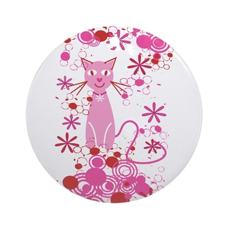 Fancy Pink Cat Ornament (Round)