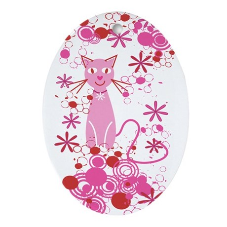 Fancy Pink Cat Ornament (Oval)
