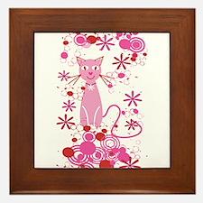 Fancy Pink Cat Framed Tile