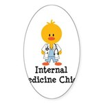 Internal Medicine Chick Oval Sticker (10 pk)