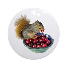 Squirrel with Cranberries Ornament (Round)