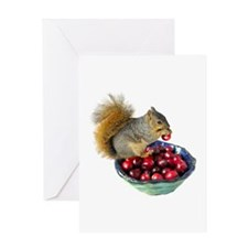 Squirrel with Cranberries Greeting Card