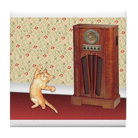 Dancing Cat Tile Coaster