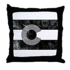 Colorado Black Flag Worn Throw Pillow