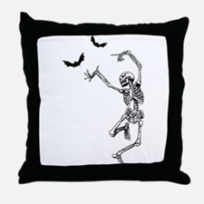 Dancing with the bats -skeleton Throw Pillow