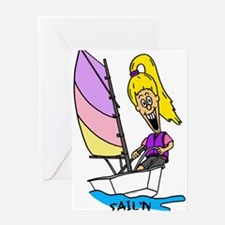 Chloe Sailing in Optimist Greeting Card
