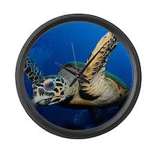 Sea Turtle Close Up Large Wall Clock