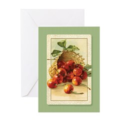 Red Cherries in a Basket Greeting Card