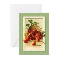 Red Cherries in a Basket Greeting Cards (Pk of 10)