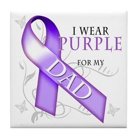 I Wear Purple for My Dad Tile Coaster