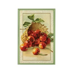 Red Cherries in a Basket Rectangle Magnet