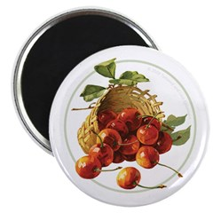 Red Cherries in a Basket Magnet